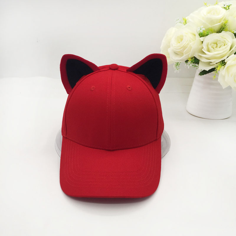 The new cat ears   baseball     cap   made of pure cotton equestrian   cap   topi female cute hat