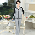 long sleeve Spring tracksuit women  suit Elasticity Character Elastic waist t-shirt and loose pant set femme with pocket