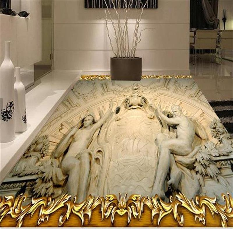 Selbstklebende Pvc Tapete : 3D Bathroom Floor Tile