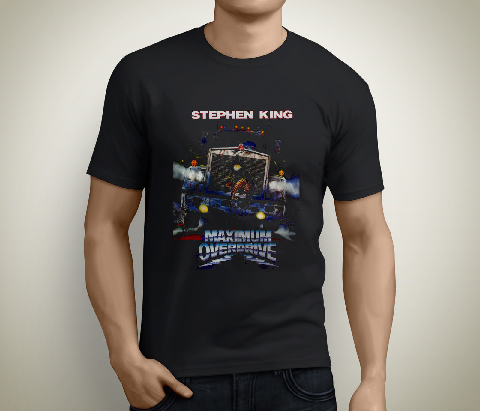 MAXIMUM OVERDRIVE Horror Movie Stephen King 80s Mens Black T-Shirt Size S-5XL