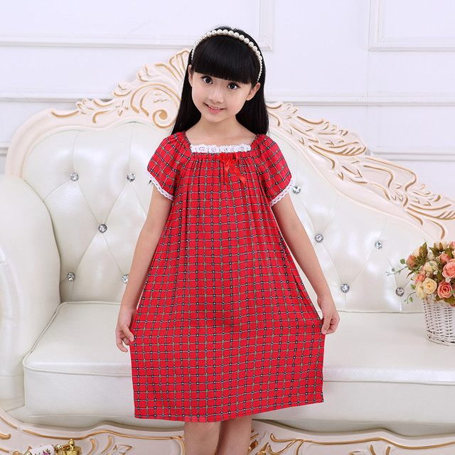 Summer Girls Nightgown pajama Dress Cotton Sleepwear for kids ...