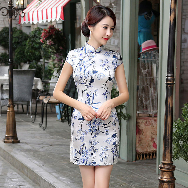 3c1bf0dcc Hot Sale Traditional Chinese Ladies Satin Cheongsam Mini Qipao Dress Summer  Style Vestidos Size S M L XL XXL LGD65