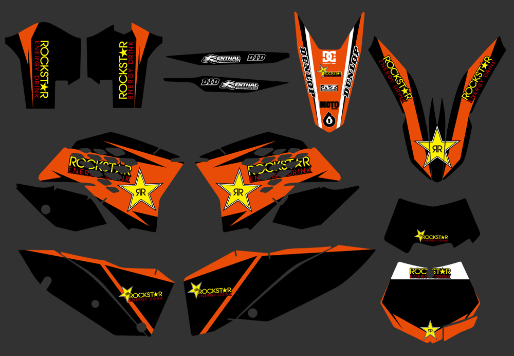NICECNC <font><b>Decal</b></font> Sticker Motorcycle for <font><b>KTM</b></font> EXC 125 250 350 450 525 530 <font><b>2008</b></font> 2009 2010 2011 Graphics Bakcgrounds Stickers NEW image