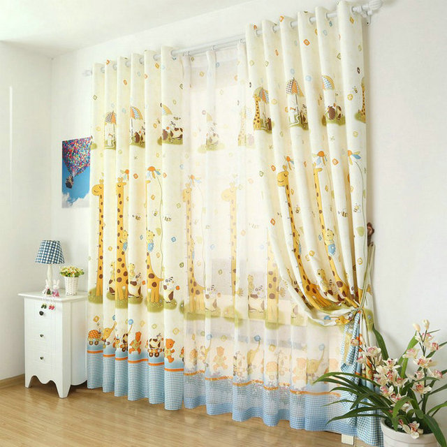 Cartoon blackout Curtains For children boy kids room + Voile For ...