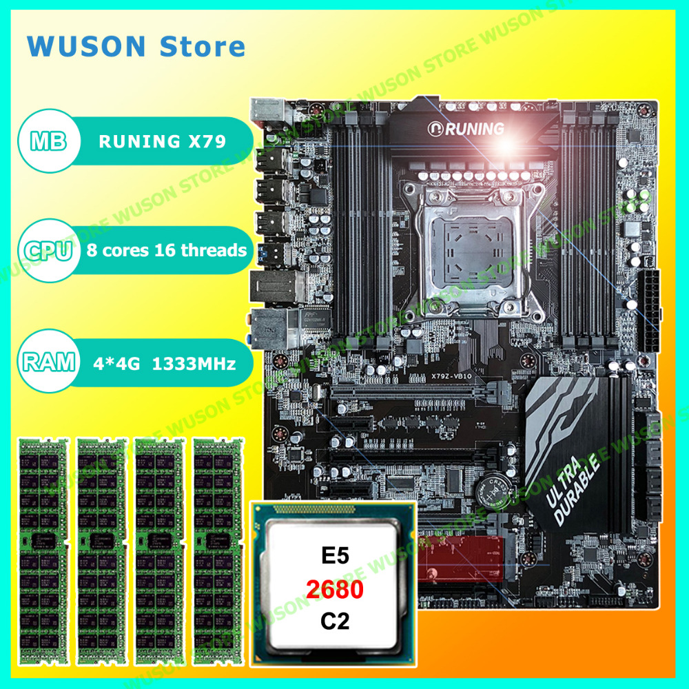 купить New!!Runing Super ATX X79 LGA2011 motherboard 8 DDR3 DIMM slots max 8*16G memory Xeon E5 2680 C2 CPU 16G(4*4G)1333MHz DDR3 RECC по цене 25446.02 рублей