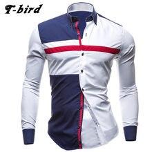 b21007f980 T-Bird marca 2018 hombres camiseta Tricolor vestido de Camisa de manga larga  de corte