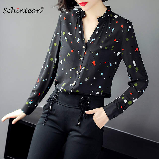 c19802fc6f30d6 Online Shop 2018 Schinteon Women Spring Summer 100% Real Silk Blouse Print  Shirts V-Neck Black Western Style Top Long Sleeves