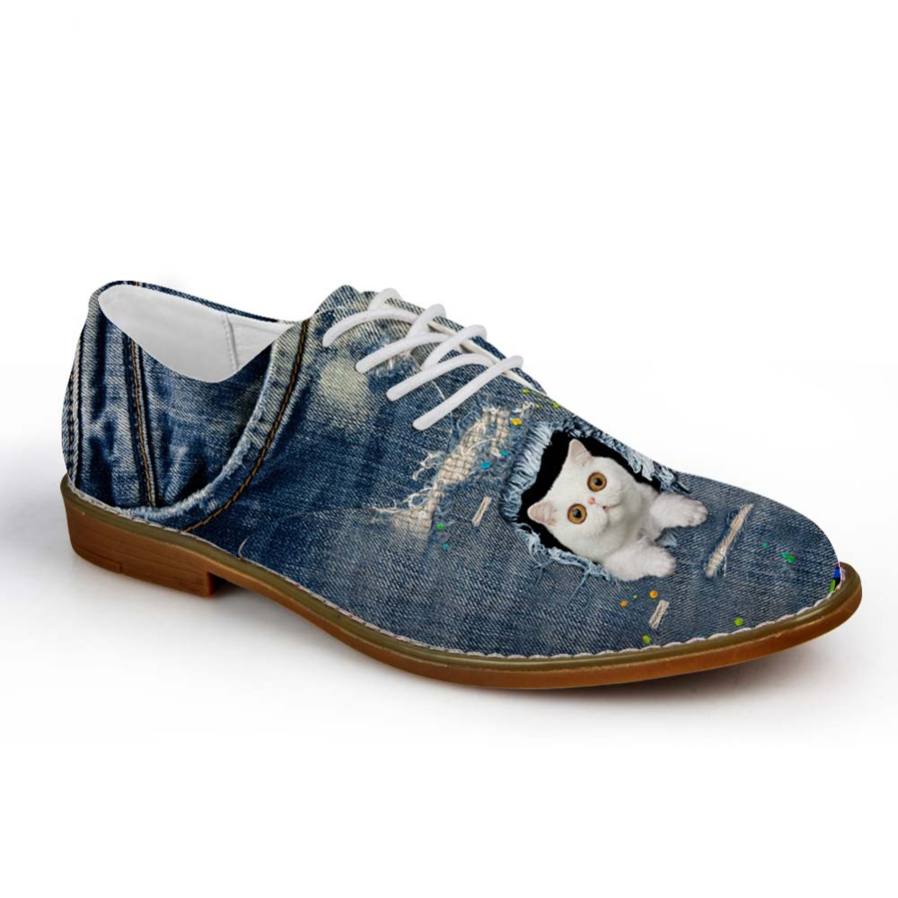 Noisydesigns Boys Oxford Shoe Denim Color cute little animal Cetak - Kasut lelaki