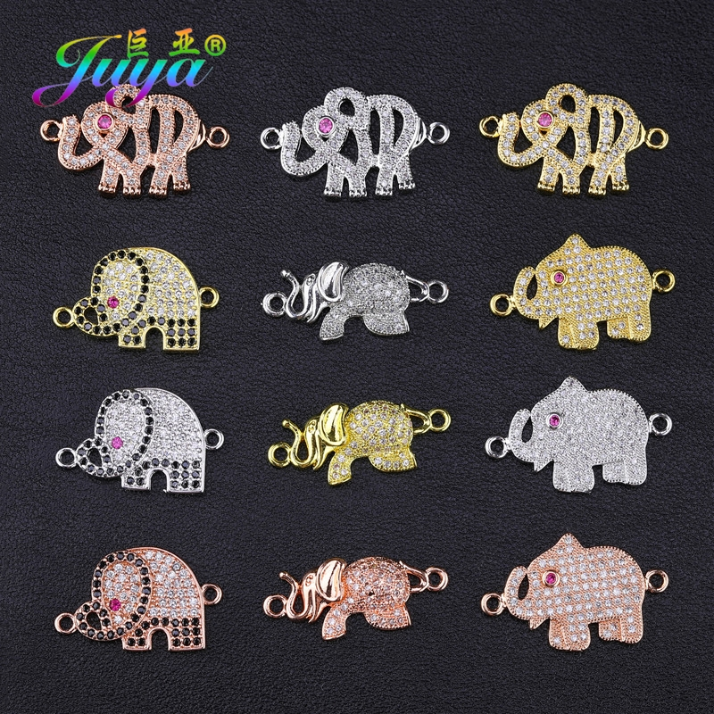 Juya DIY Bracelets Jewelry Making Accessories Supplies Micro Pave Zircon Gold/Silver/Rose Gold Elephant Animal Charms Connectors