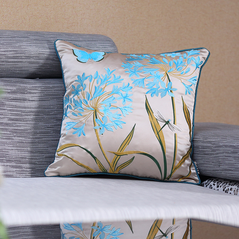Embroidered Sofa Cushion Cover Silk Blue Couch Throw