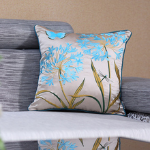 Wholesale  Silk Embroider  Throw Cushion Case Sofa Pillow Shell Home DecorativeThrow Pillow Cover Cushion Sham Almofadas