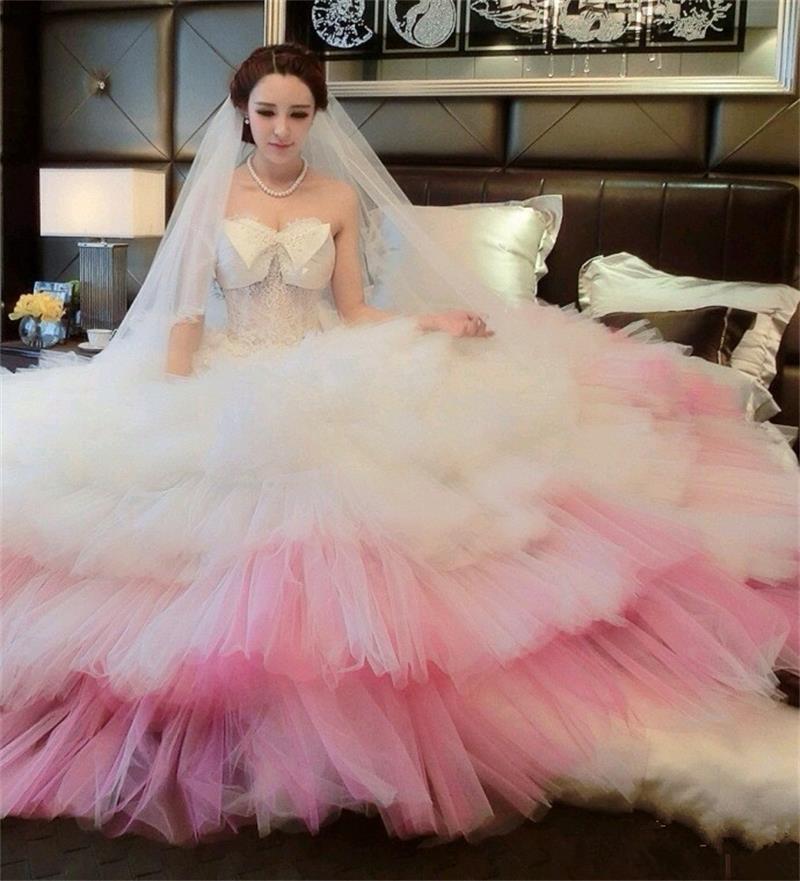 Beautiful Red And White Wedding Dress: 2016 Beautiful Pink Wedding Dress Sweetheart Appliques