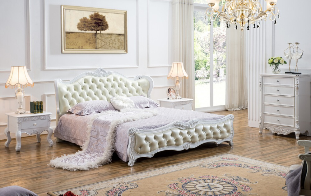 high end solid wood and leather bed bedroom furniture Baroque
