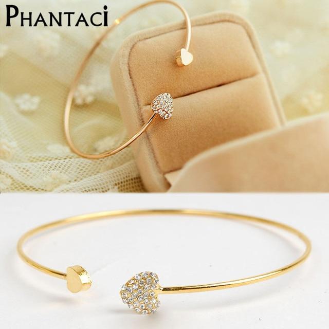 Gold Color Heart Shaped Metal Crystal Cuff Bracelets & Bangles