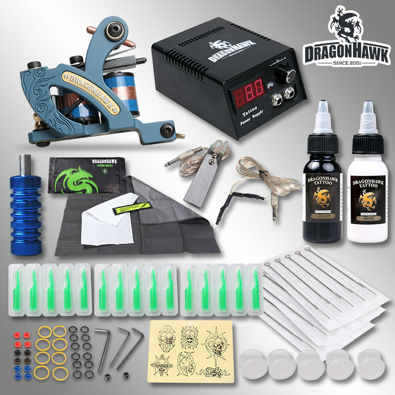 Top Quality Complete Tattoo Kit Coloring Machine Inks Needles Grips Tips Free Gift Tattoo Supply sinocmp throttle position potentiometer 7861 92 4130 for komatsu pc 5 excavator