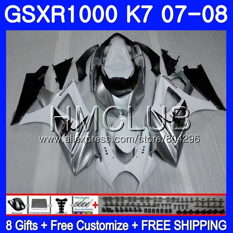 Corps Pour SUZUKI GSXR-1000 K7 GSX-R1000 GSXR 1000 07 08 35HM. 10 GSXR1000 07 08 blanc Argenté Carrosserie GSX R1000 2007 2008 Carénage