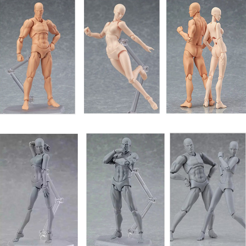 13cm Figma Archetype He She Anime Models PVC Action Figure Human Body Joints Male Female Nude Movable Dolls Collections image
