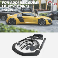 For Audi R8 V8 06 12 Coupe LB Style FRP Fiber Glass Wide Full Body Kits 15pcs Fiberglass Splitter Fender Diffuser Spoiler Wing