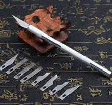 Couteau de sculpture en cuir, outil de travail manuel en gros, couteau de sculpture en cuir, stylo graveur burin avec 9 lames, bonne qualité