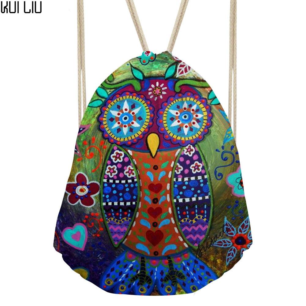 Women's Cartoon Owl Drawstring Bag Animal Dog Backpack Girls Small Bunch Pocket For Female Travel Gifts Sac Licorne