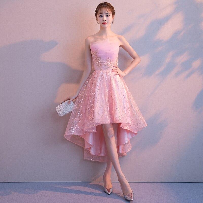 34cca769f034 € 45.47 25% de DESCUENTO|Aswomoye elegante Rosa corto frente Largo trasero  vestido de noche 2019 nueva moda vestido de fiesta de graduación vestido ...