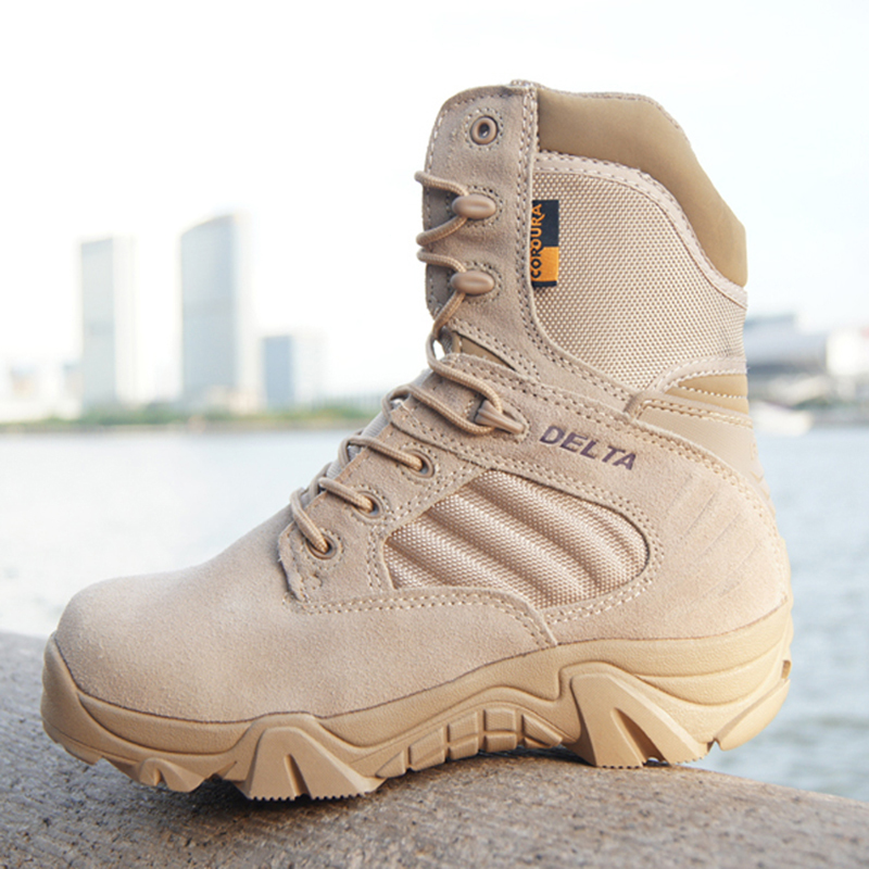 Winter Autumn Men Military Boots Quality Special Force Tactical Desert Combat Ankle Boats Army hiking Shoes Leather Snow Boots military combat boots rubber bottom tactical boots lace up outdoor shoes men 11 autumn winter men leather working safety boots