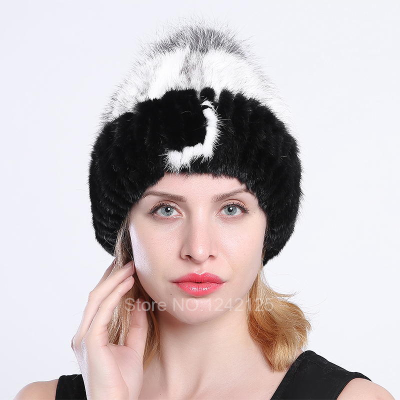 New winter women children girl knitted mink fur hat striped words with fox ball mink weave hats caps headgear Skullies Beanies hm039 real genuine mink hat winter russian men s warm caps whole piece mink fur hats