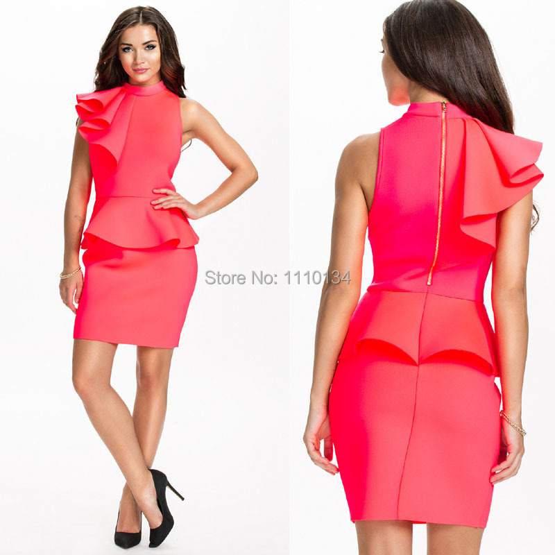 Brand Design Women Stand Collar Ruffles Business Formal Dresses Red