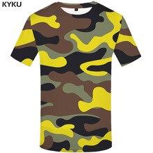 Мужская футболка с граффити Harajuku, желтая камуфляжная Футболка с принтом в стиле милитари, повседневная одежда, 3