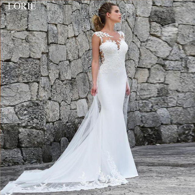 LORIE Mermaid Wedding Dresses Turkey 2019 Lace Appliques Bridal Dress Custom Made Wedding Gown vestidos de noiva Plus size