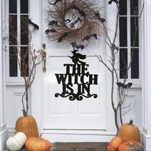 The Witch Is In Halloween Hanging Sign Door Hanging Halloween Decoration