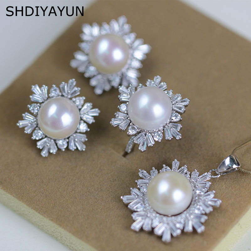 SHDIYAYUN 2019 Fine Pearl Jewelry Set Natural Pearls Snowflake 925 Sterling Silver Set Necklace Earrings Pendant Ring For Women in Jewelry Sets from Jewelry Accessories