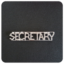 """Secretary"" Occupation Crystal Letters Womens Brooch"