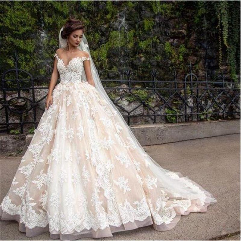 2019 Dubai Arabic Wedding Dresses Lace Appliques Off: 1920'S Vintage Lace Applique Princess Wedding Dresses