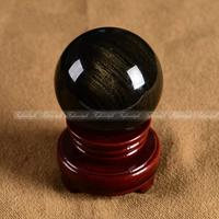 1PC 50mm Top Gold Sheen Obsidian Crystal Sphere Ball Gemstone Healing Reiki C227 CRYSTAL BALL Natural stones and minerals
