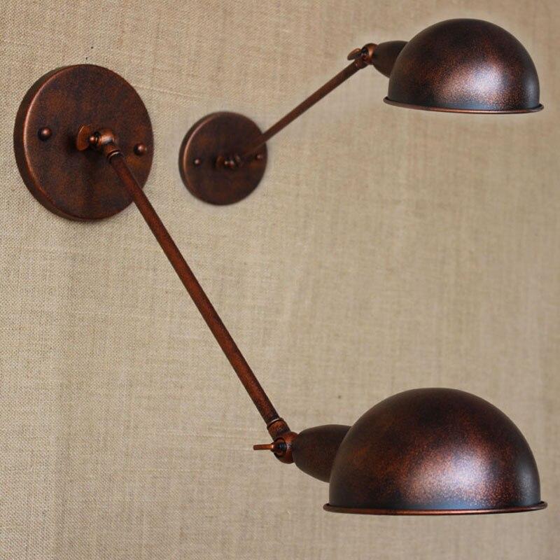 Retro Vintage loft brown metal country adjust wall lamp for Bathroom study bedroom diningroom foyer Vanity Lights E27 110-220V