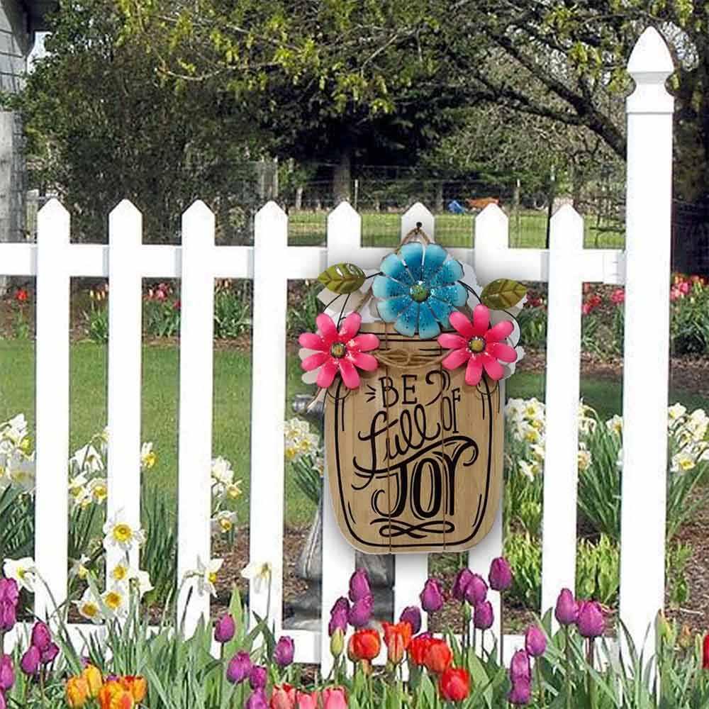 Placa Pendurada Primavera Páscoa DIY Início Decorativa de madeira Cesta de Flores Do Jardim do Metal Placa de Ferro Ornamento de Suspensão Decoração de Páscoa