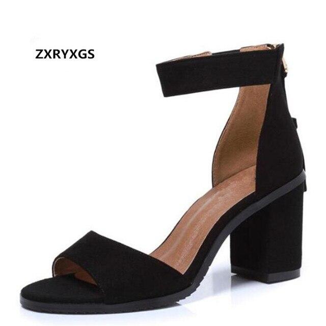 bf7755c4ac Matte Kulit Sapi Sepatu Musim Panas Wanita Sandal 2019 Dibatasi Terbuka Toe Sepatu  Kulit Asli Sepatu