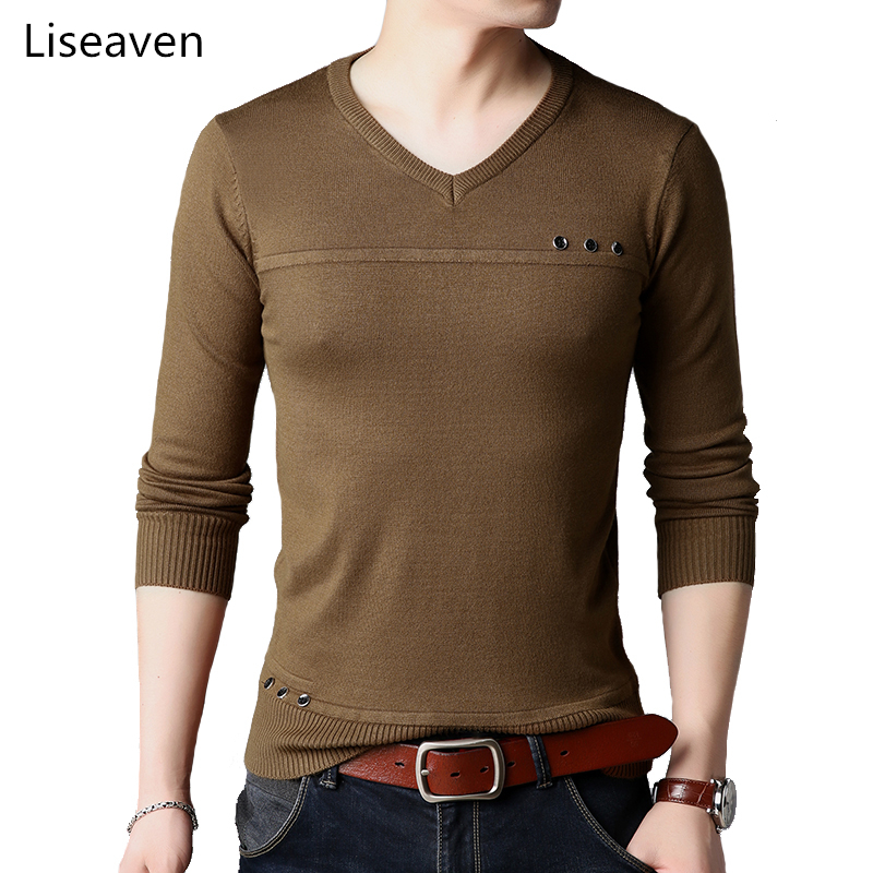 Liseaven Men's Clothing Sweaters Solid Color Pullovers Full Sleeve Knitted Pullover Sweater 2018
