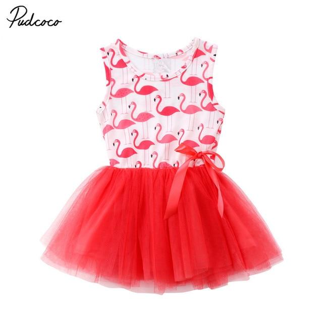 Niño recién nacido chico niñas dulce princesa Animal flamenco sin mangas cuello redondo lazo encaje tutú vestido traje de fiesta de verano 0-5Y