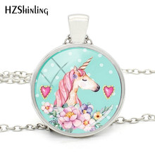 2018 New Fashion Animal Jewelry Round Glass Silver Pendant Unicorn Fancy Necklace Jewelry Style Art Photo Gifts For Girl(China)