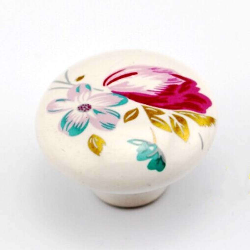 38mm white ceramic kitchen cabinet drawer knob pulls red flower porcelain dresser cupboard door pull ceramic