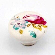 38mm white ceramic kitchen cabinet drawer knob pulls red flower porcelain dresser cupboard door pull ceramic  furniture knobs