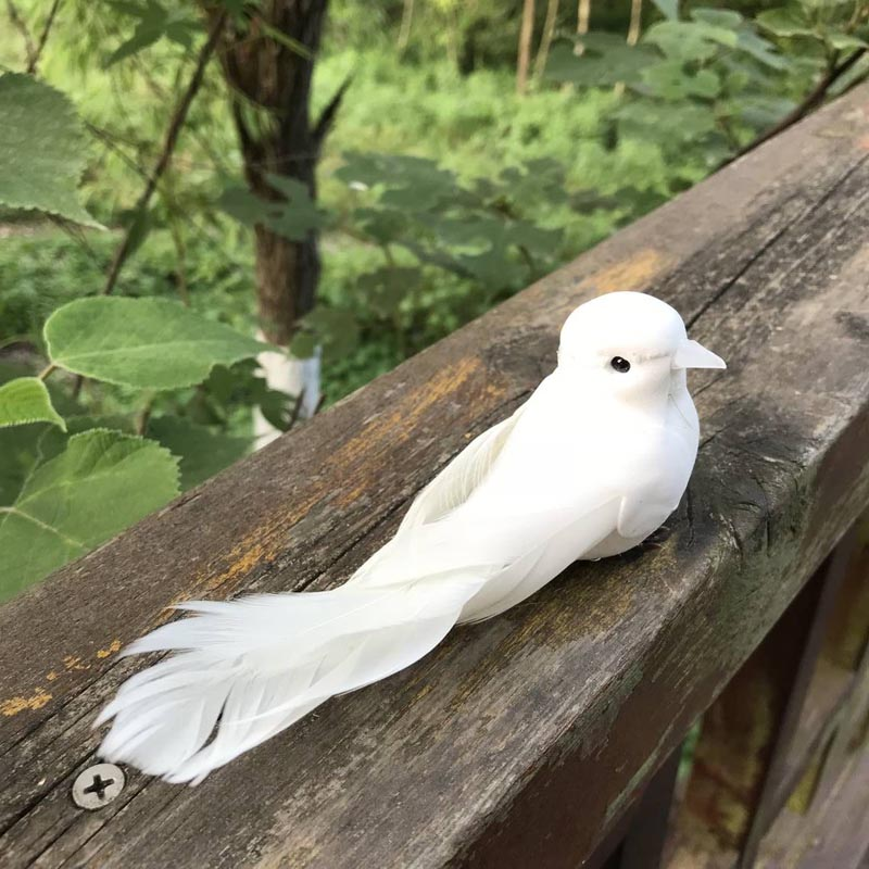 4PCS,Foam Feathers Pigeons Artificial Fake Bird, White Craft Birds With Foot,Wedding Decoration,Birthday Party Decorations Kids
