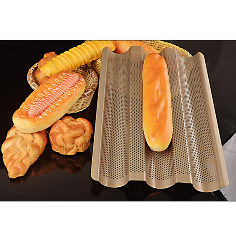 New Baguette French Bread Baking Tray Gold Color Baguette Frame Rack Nonstick Carbon Steel Baguette Bread