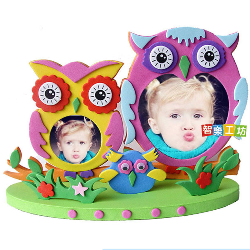 Kids DIY EVA Photo Frame Craft Toy Preschool Baby Educational Toys For Children Owl Beautiful Butterfly Photo Frame Kids Toys
