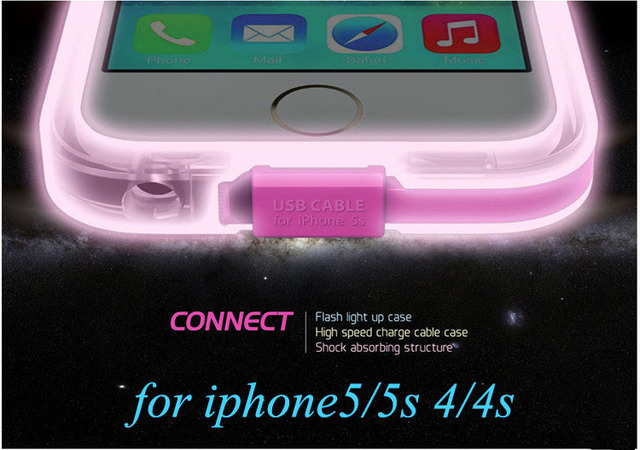 online store 80a2a 3f355 US $8.84 |2015 New Connect High Speed Charge USB Cable Flash Light Up Case  Cover For iPhone 5 5G 5S 4/4S Mobile Phone Protection Case on ...