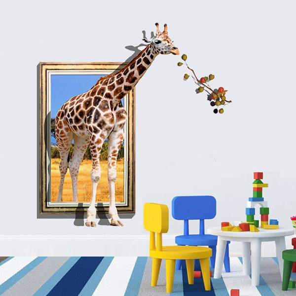 Charming Cartoon Giraffe Modern 3D Wall Stickers Home Decor Living Room Mural Art  Decal Kids Rooms Decoration Part 17