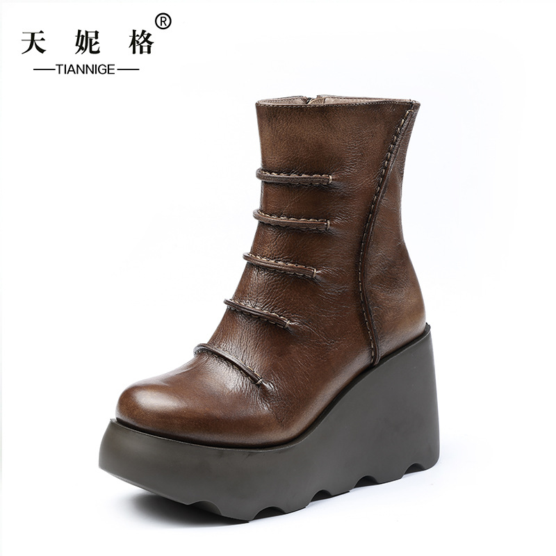 High Heels Women Boots Platform Women Leather Shoes 2016 Autumn Ankle Boots Handmade Women Shoes Vintage handmade genuine leather boots vintage national trend women boots twiddlefish platform flat heels boots women shoes