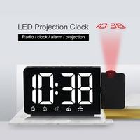 LCD Alarm Clock Projection Time Display Digital Date Function Snooze Revolving Alarm Clock Multifunctional Radio Led Clock